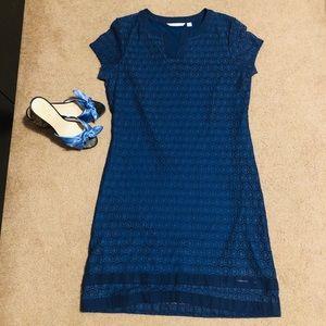 Isaac Mizrahi Live! Blue Lace Shift Dress M
